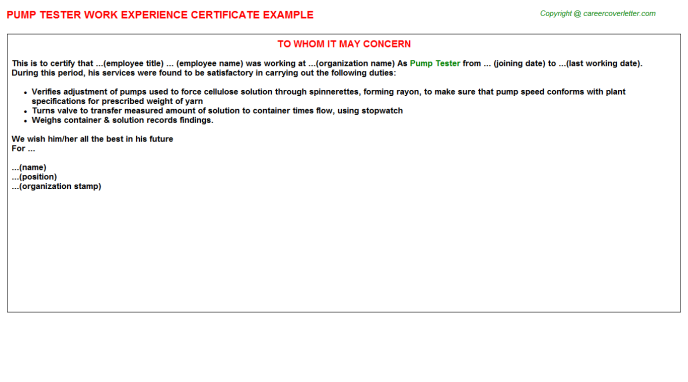 pump tester experience letter template
