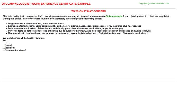 Otolaryngologist Experience Letter Template