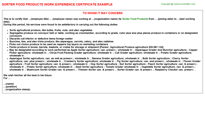 sorter food products experience letter template