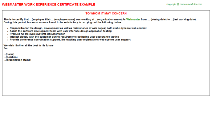 Webmaster Experience Letter Template