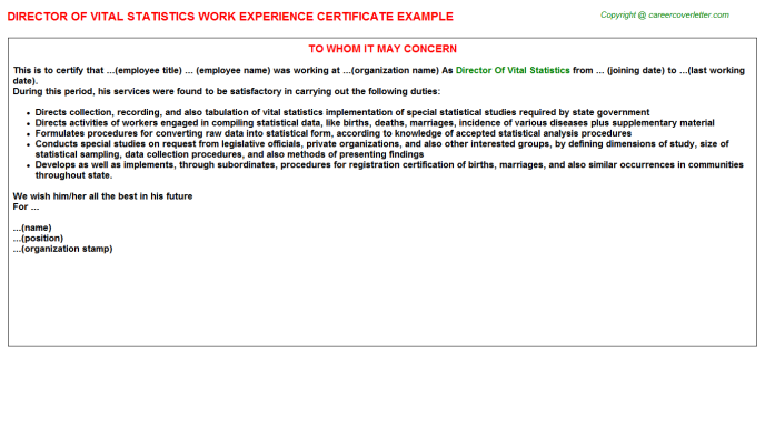Director of vital statistics work experience letter (#3032)