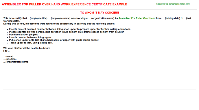 Assembler For Puller over Hand Experience Letter Template