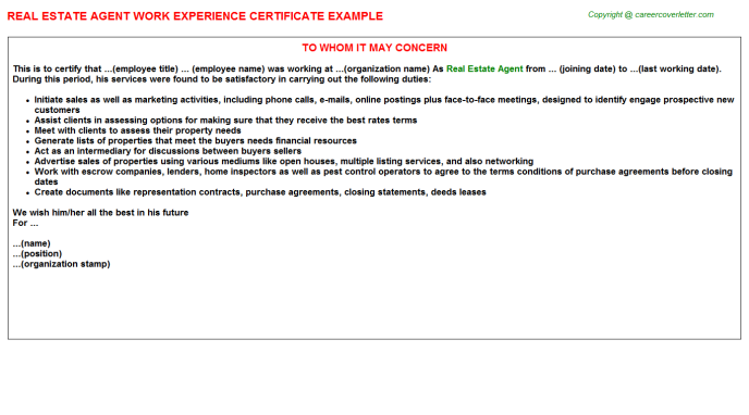 Real Estate Agent Experience Letter Template