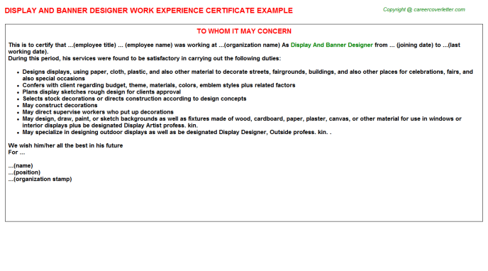 Display And Banner Designer Experience Certificate Template