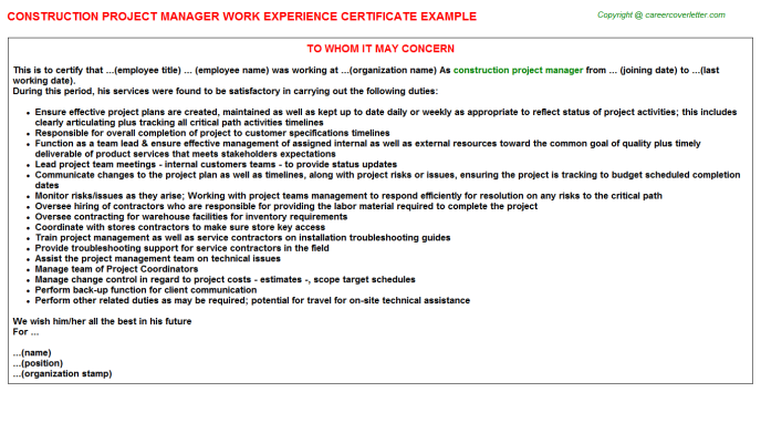Construction Project Manager Experience Letter Template