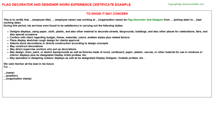 Flag Decorator And Designer Experience Certificate Template