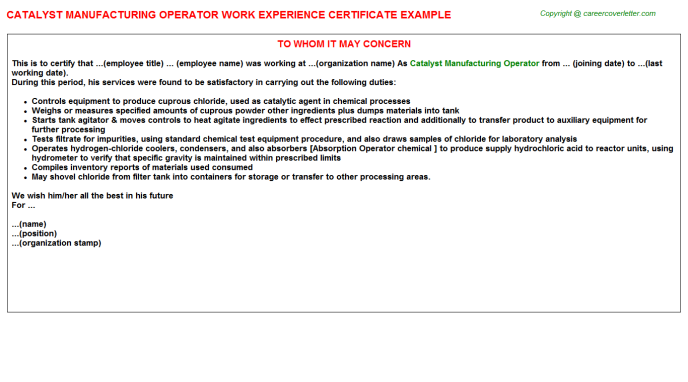 catalyst manufacturing operator experience letter template
