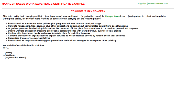 Manager Sales Experience Letter Template