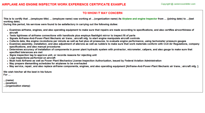 Airplane and engine Inspector Experience Letter Template
