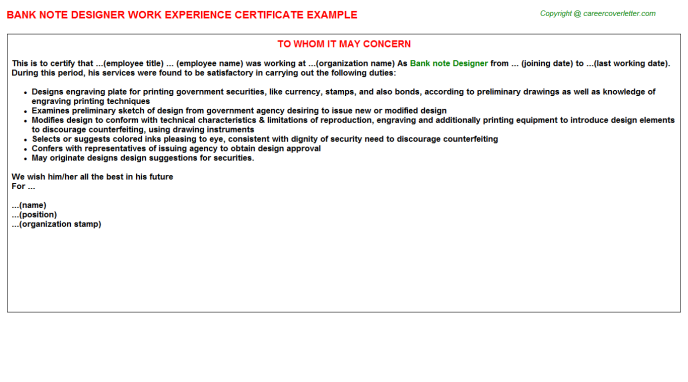 Bank Note Designer Experience Certificate Template