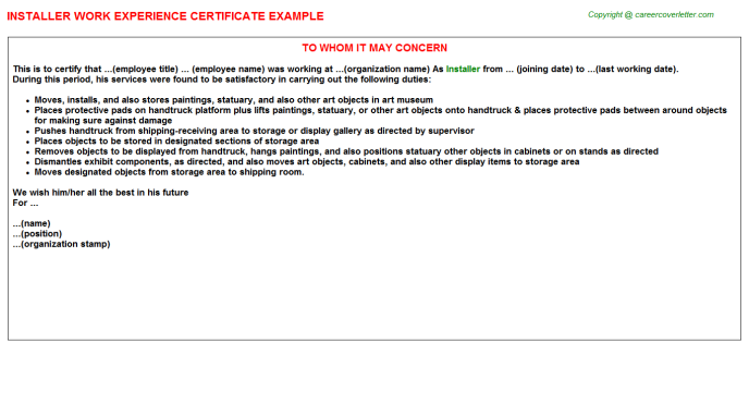 Installer Experience Letter Template