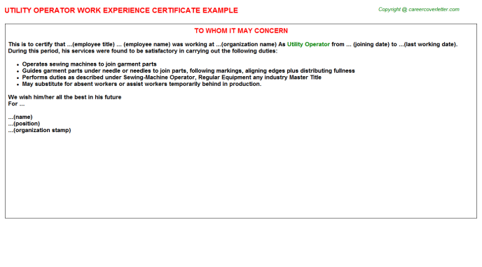 Utility Operator Experience Letter Template