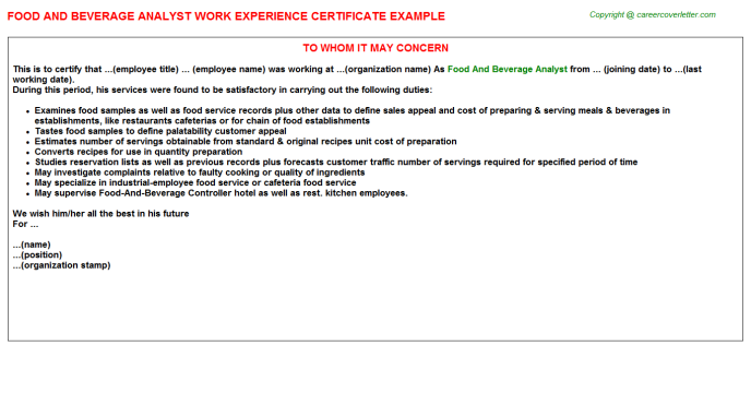 food and beverage analyst experience letter template