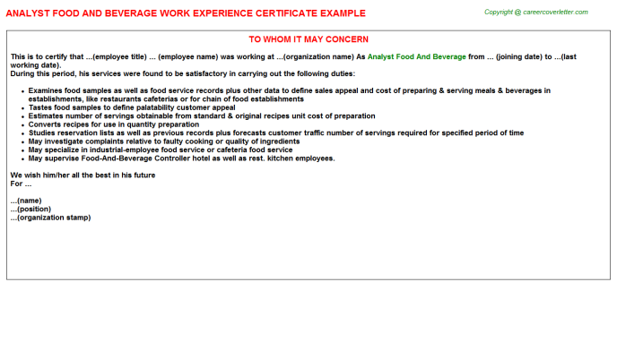 analyst food and beverage experience letter template