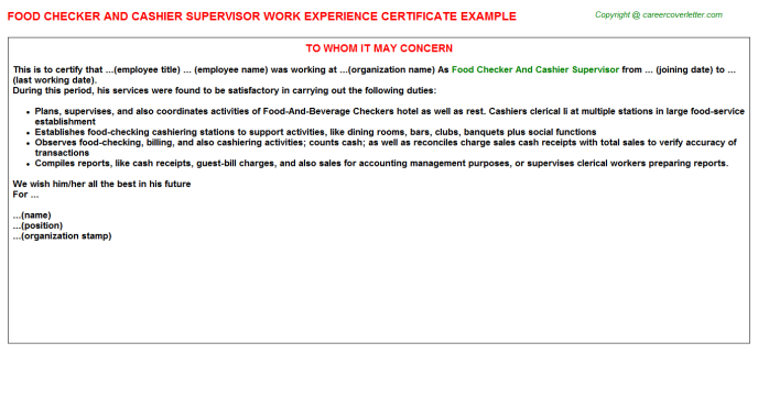 food checker and cashier supervisor experience letter template