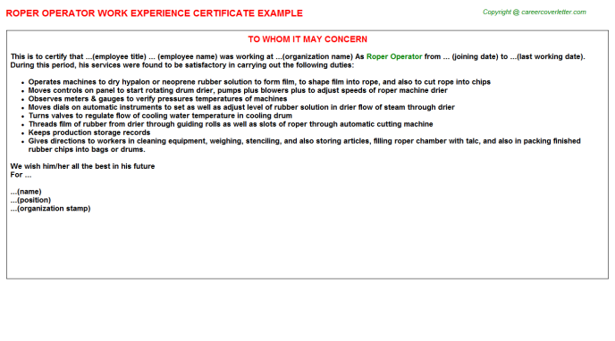 roper operator experience letter template
