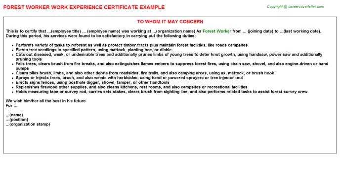 Forest Worker Experience Letter Template