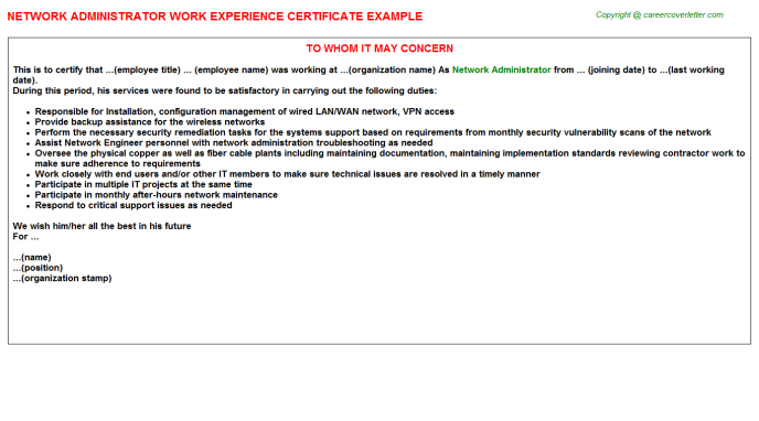 Network Administrator Experience Letter Template