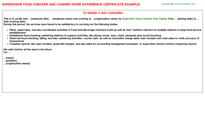 supervisor food checker and cashier experience letter template