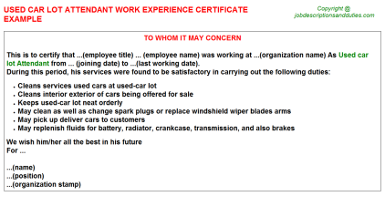 Used car lot Attendant Work Experience Letter Template