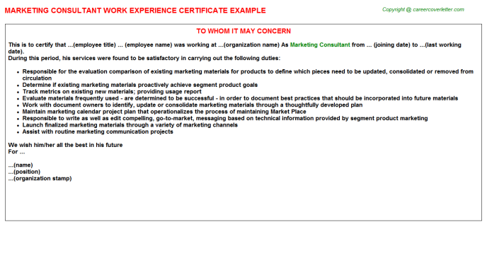 Marketing Consultant Experience Letter Template