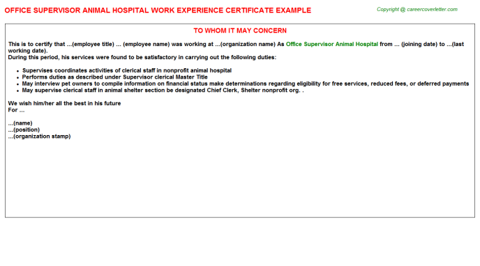 Office Supervisor Animal Hospital Work Experience Letter Template