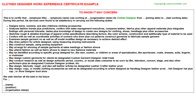 Clothes Designer Experience Certificate Template