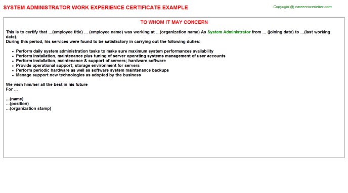 system administrator work experience letter