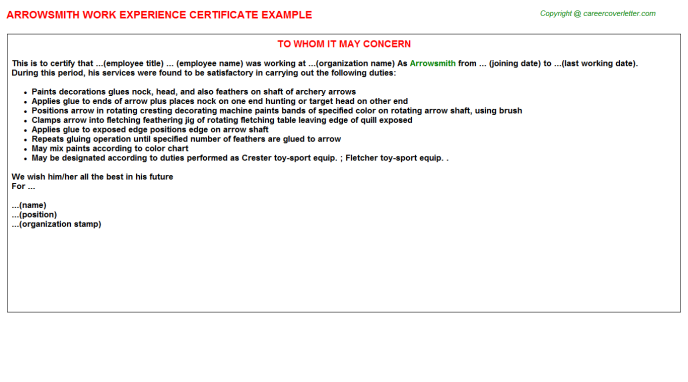 Arrowsmith Experience Letter Template