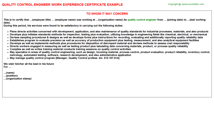 Quality Control Engineer Experience Letter Template