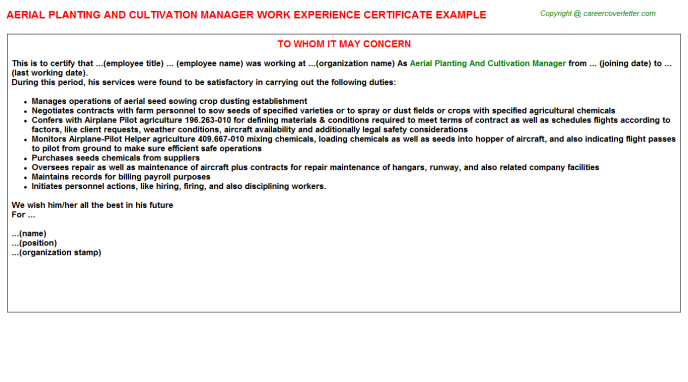 Aerial Planting And Cultivation Manager Experience Letter Template