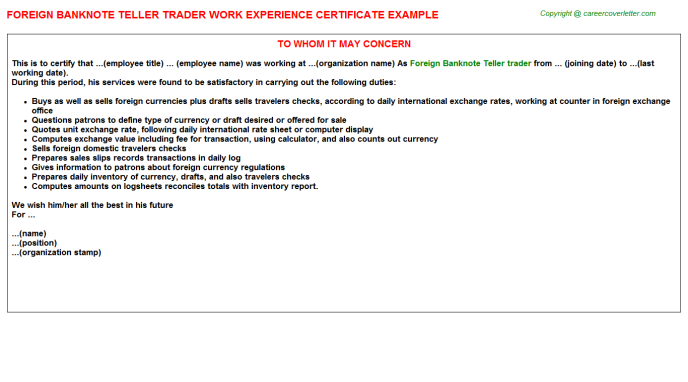 foreign banknote teller trader experience letter template