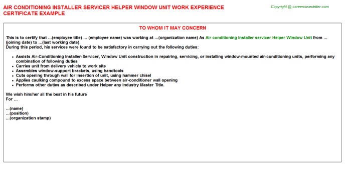 Skilled Replacement Window Installers Experience Letters