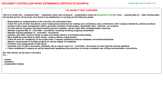 Document Controller Experience Letter Template
