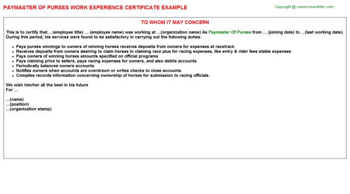 Paymaster Of Purses Experience Letter Template