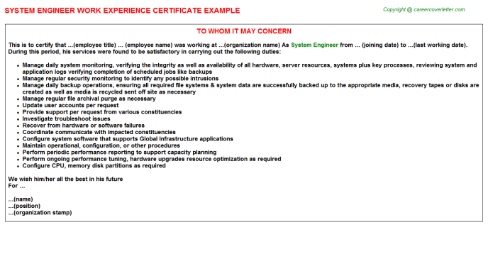 System Engineer Experience Letter Template