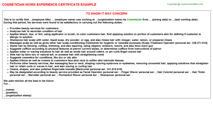 Cosmetician Experience Letter Template