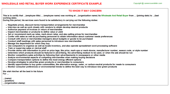 Wholesale and retail buyer work experience letter (#25344)