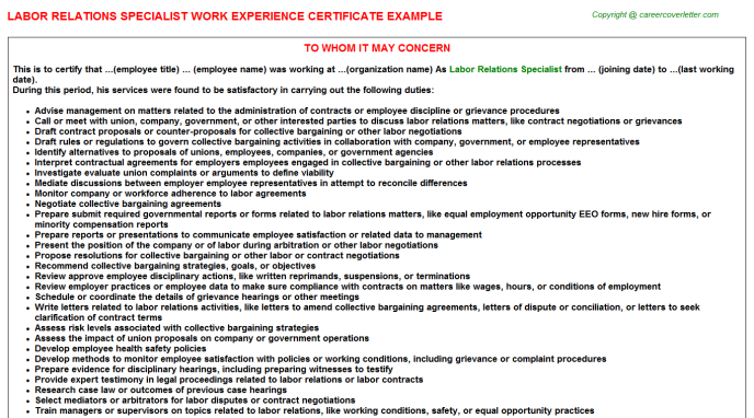 Labor Relations Specialist Work Experience Letter Template