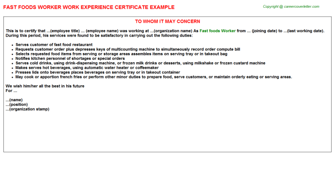fast foods worker experience letter template