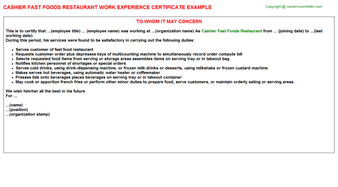 cashier fast foods restaurant experience letter template