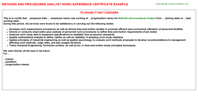 Methods and procedures analyst work experience letter (#348)