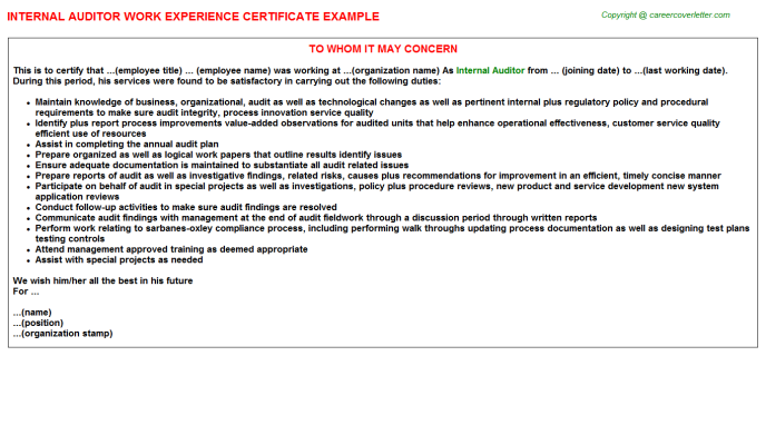 Internal Auditor Job Experience Letter Template