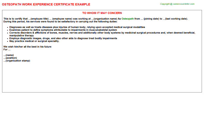 Osteopath Experience Letter Template