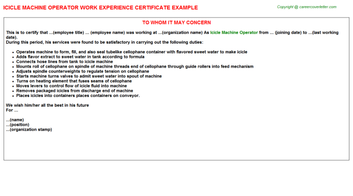 Icicle Machine Operator Work Experience Letter | Experience
