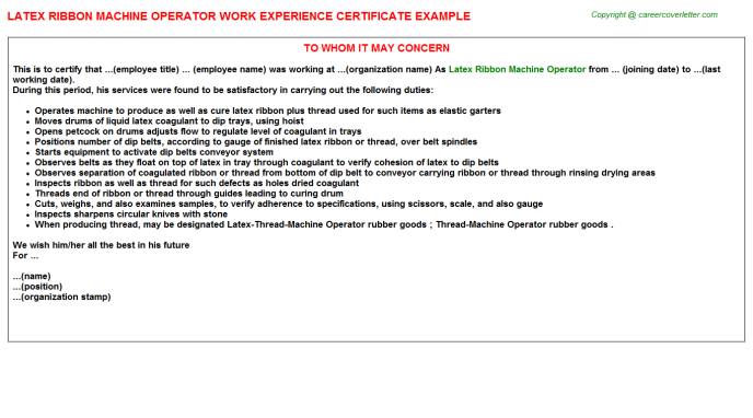 Latex ribbon machine Operator Experience Letter Template