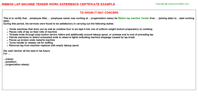 Ribbon Lap Machine Tender Work Experience Letter