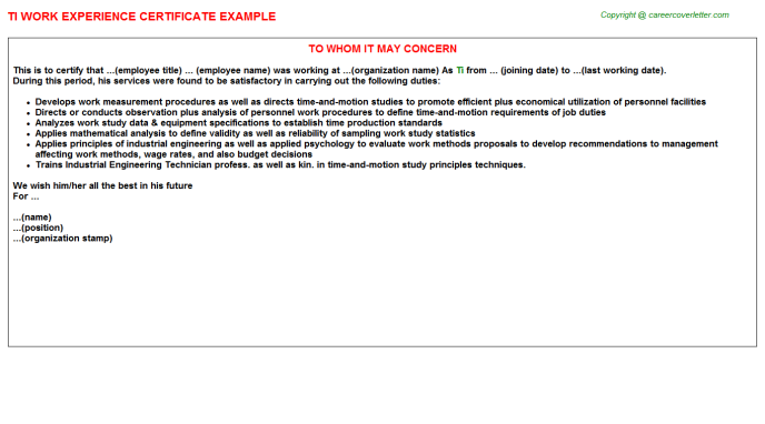 Ti Work Experience Letter Template