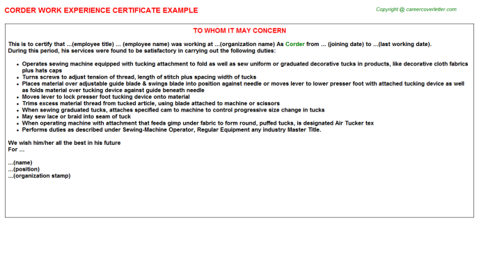 Corder Experience Letter Template
