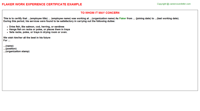 Flaker Experience Certificate Template